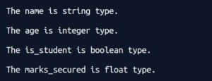 Python Typecasting and Type conversion -program to check datatype of variable using type function