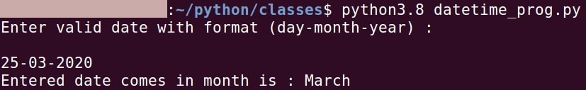 Python show month name from a given date.
