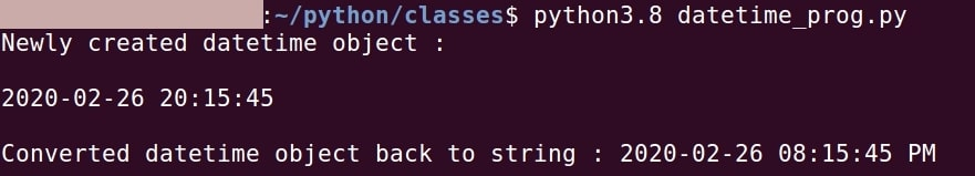 Python convert string to DateTime object and vice-versa