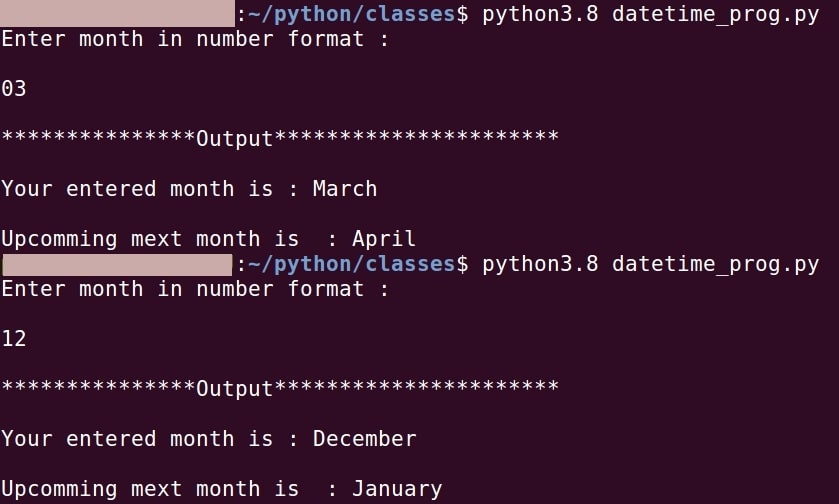 Python show next upcoming month from a given month.