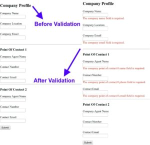 PHP Laravel nested validation before and after form submission
