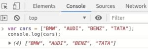 JavaScript-Array displaying or debugging array using console.log() function