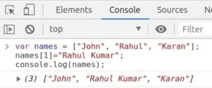 JavaScript Array updating specific index of array