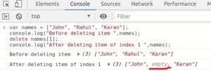 JavaScript Array deleting specifix index of array using delete keyword