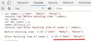 JavaScript Array deleting array index using splice() method