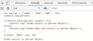 Javascript Advance Object Operations with examples | Check if data exists in object usingObject.keys() method