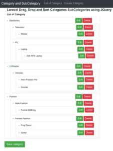 Laravel Categories and SubCategories - final output preview