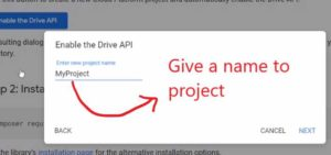 Google Drive - Give Name to Project