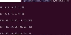 The monthdayscalendar() method returns days represented by day number