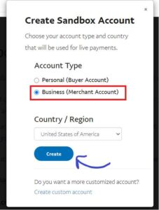 Creating Sandbox business account for paypal