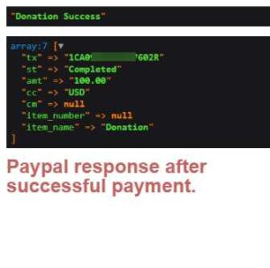 Paypal response after successful payment of donations.