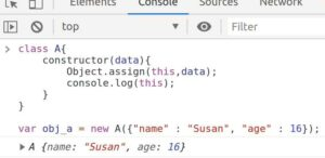 using Object.assign() method is class constructor to assign all values from array data to this object