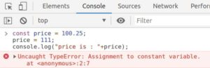 Assignment to constant variable exception while updating the const variable