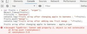 Exception Cannot add property while modifying property of Object.freeze()