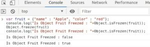 Check wheather object is frozen using Object.isFrozen( ) method