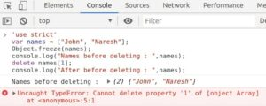Exception Cannot delete property thrown while deleting a property of frozen object using use strict declaration