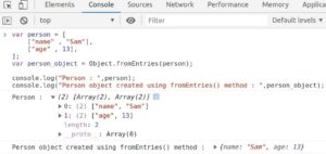 Using Javascript Object.fromEntries() method