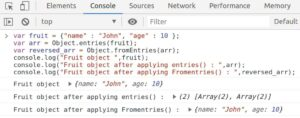 Creating object from array using Object.fromEntries() method