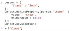 Skipping a property from including into keys by setting enumerable property as false