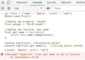Exception on calling the get_name() method on object fruit