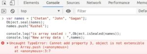 Check wheather the object is sealed or not using Object.isSealed() method