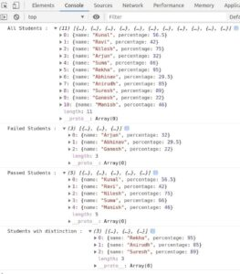 Example for real-life use of array filter method to filter students based on the score