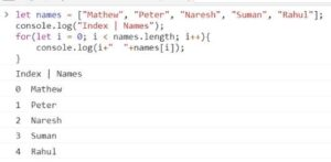 Use of for loop to iterate over names