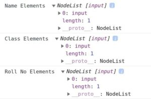 Get array of elements by name attribute using getElementsByName() Method